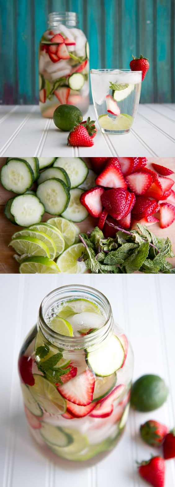 The perfect combination of flavors! Strawberry, Cucumber, Lime and Mint Flavored Water Recipe | Easy DIY Detox Water Recipe by DIY Ready at http://diyready.com/diy-recipes-detox-waters/:
