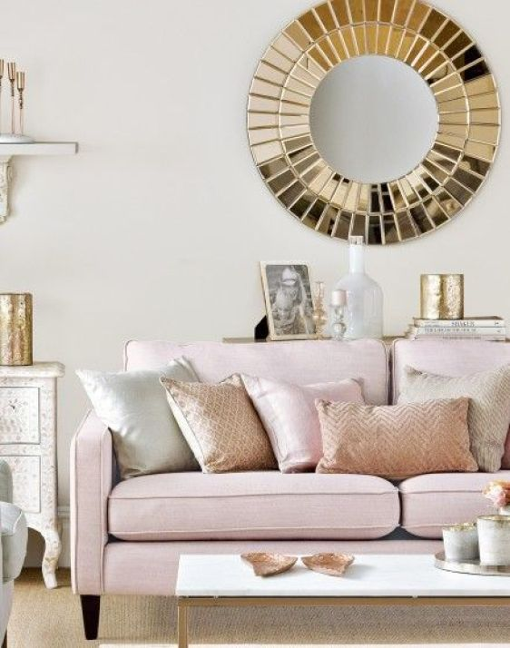 Looking for living room ideas? Be inspired by this neutral living room with rose gold and pink accents. Find more room design and decorating ideas at theroomedit.com: