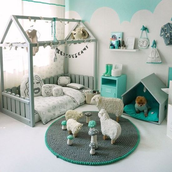Cute bed! It's still easy to change sheets but looks like a house. Maybe add the roof and leave the side open: