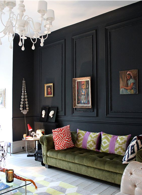 Black Wall Interior with black mouldings - eclectic decor inspiration: