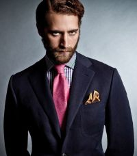 Drakes London fw12 - navy sport coat, pink tie, blue and ...