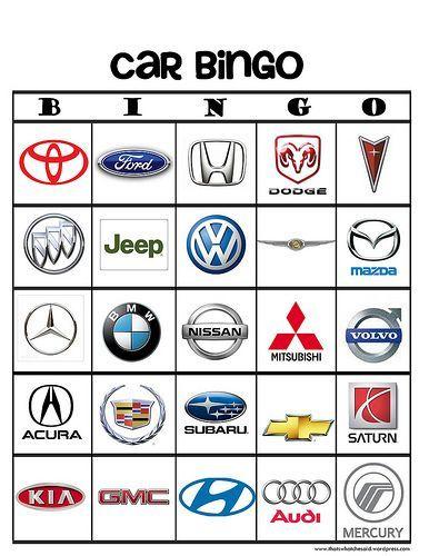 "Car Brand ""I Spy"" Bingo Printable Game | That's What Che Said"