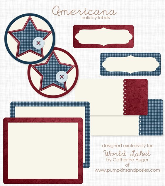 printable americana holiday labels