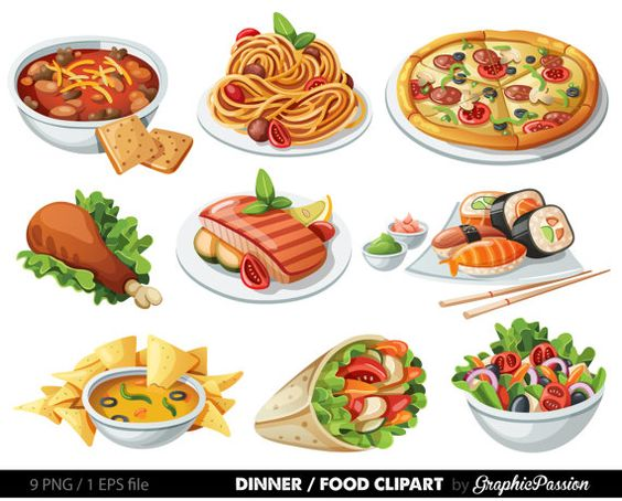 Food Clip art Food Clipart Spaghetti Pizza Sushi by