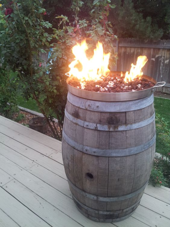 Diy Heatilator Gas Fireplace Conversion Fire Glass Rock With Wine Barrel Fire Pit. Cooking Pot From Mexican Flea Market