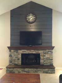 Fireplace DIY Makeover-Old barnwood shiplap cleaned up and ...