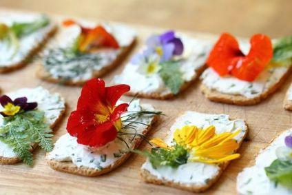 flores comestibles, color, comida divertida