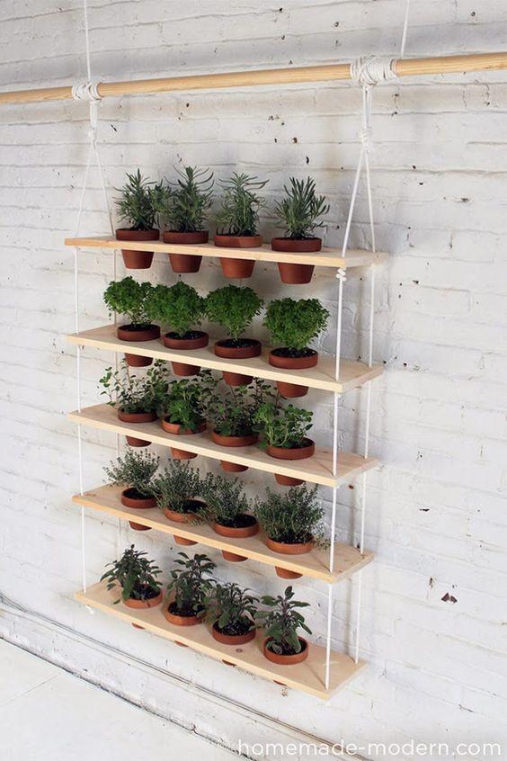 decoração com horta vertical Jardim-suspenso-DIY-1: