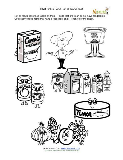 Food labels, Nutrition education and Coloring on Pinterest