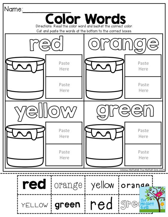 Color words (Cut and Paste) TONS of Back to School