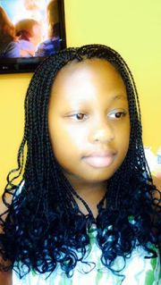 box braids extensions with curly