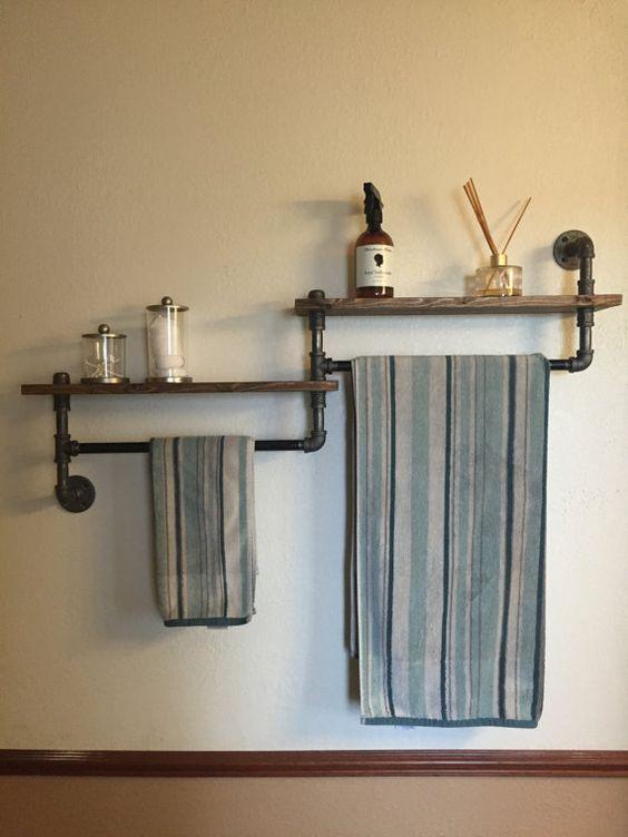 Industrial+bathroom+towel+rack+bathroom+shelf+by