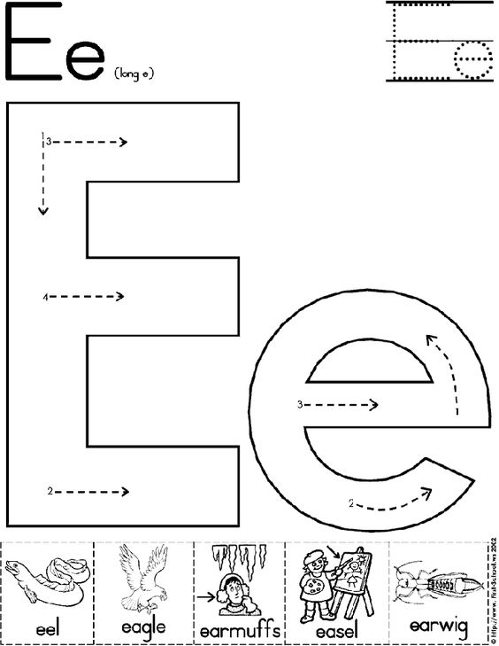 Letter e, Letter e worksheets and Alphabet letters on