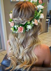 soft beach waves and floral crown