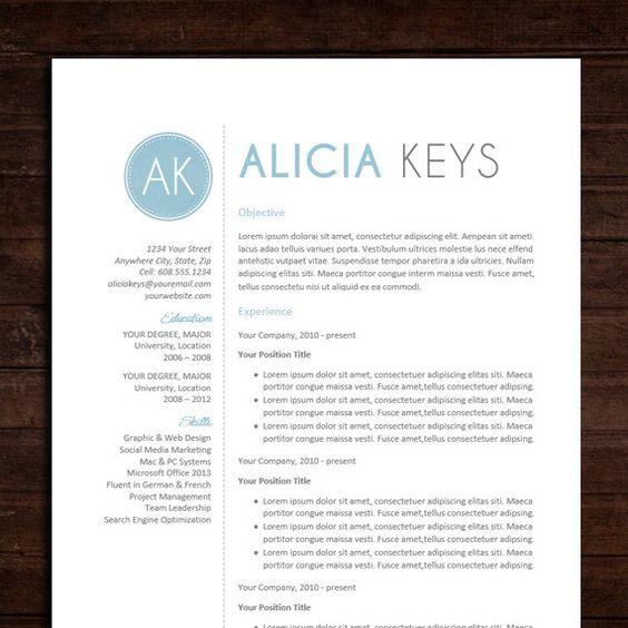 Resume  CV Template  The Alicia Resume Design in Blue