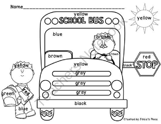 FREE Color Word Recognition and Bus Coloring Sheets from