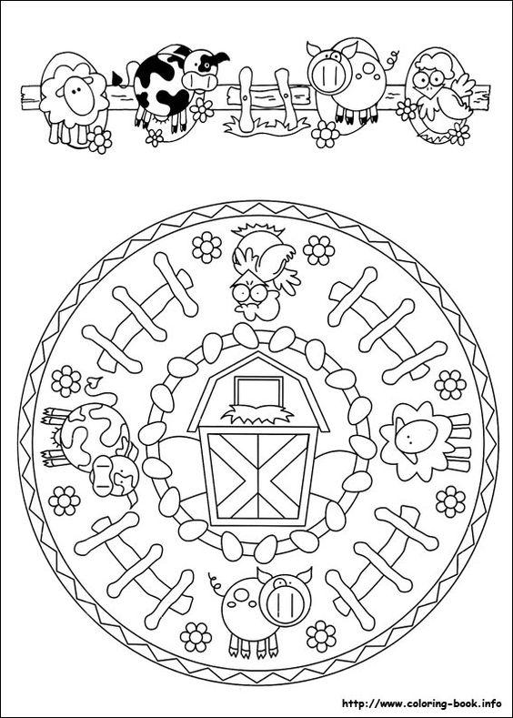 Mandala farm coloring... ** this would make a great