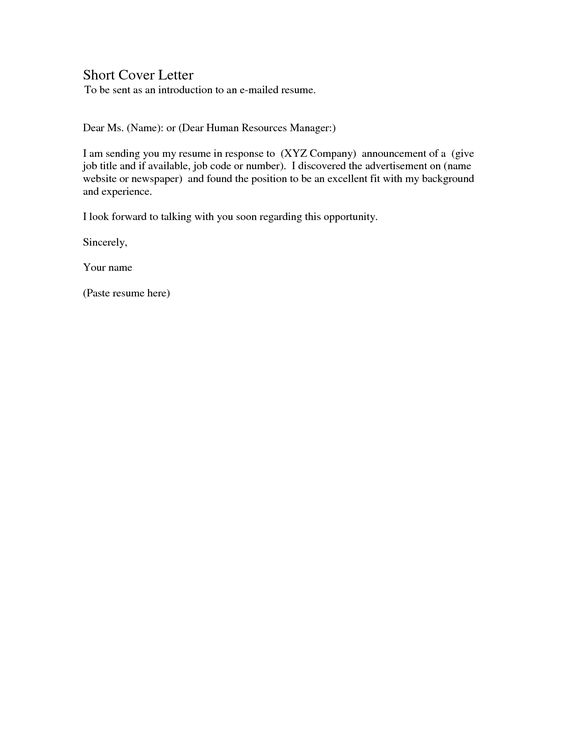 Simple Cover Letter Samples  Cv Templates Simple and Best Short Cover Letter To be sent as