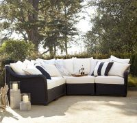 Palmetto All-Weather Wicker Sectional Set - Black ...