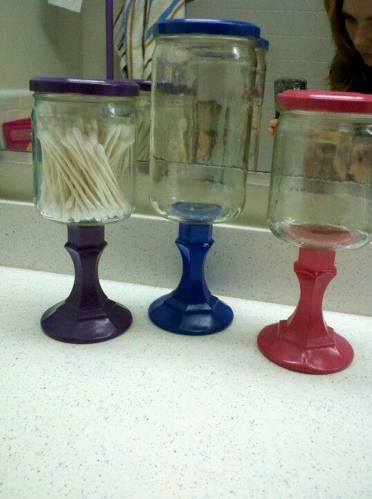 Salsa jar, dollar tree candle stick holders and spray