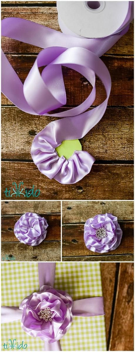 Ruffled Ribbon Rose Spring Gift Wrap Tutorial. I used scraps and leftovers to make this elegant present for a friend!: