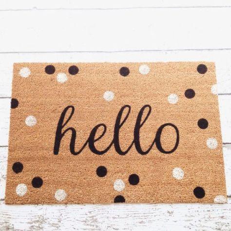 Hello Door Mat / Doormat Door Mat Welcome Mat Polka by LoRustique: