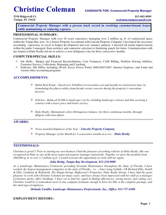 sample commercial property manager resume