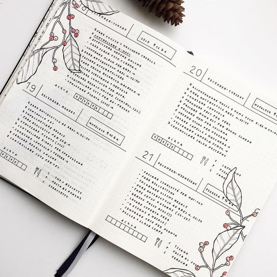 These days I love this type of layout with 2 days for page because I have more space to write tasks and I can add also the meal plan. In addition I love Christmas and a little bit of red makes everything more magical!: