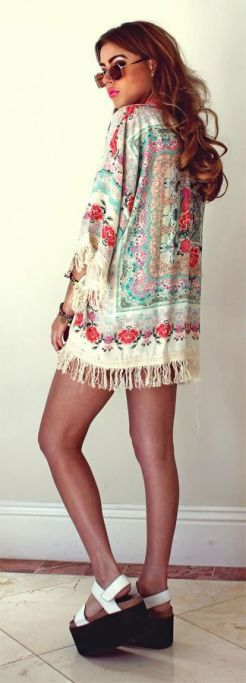 Boho Floral Fringe Kimono: