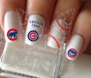 baseball nail art chicago cubs
