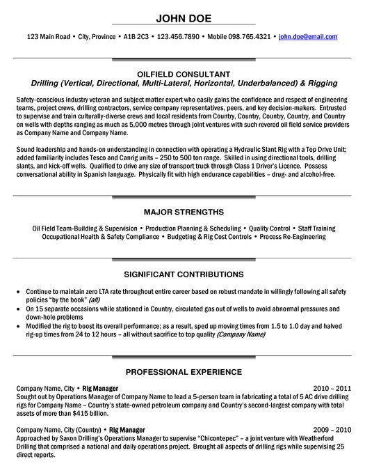 Rig Manager Resume Sample Expert Oil & Gas Resume