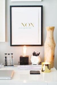 How to Style a West Elm Parsons Desk // white lacquer ...