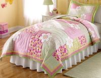 Floral Pink and Green Bedding 2pc Twin Quilt Set Kids