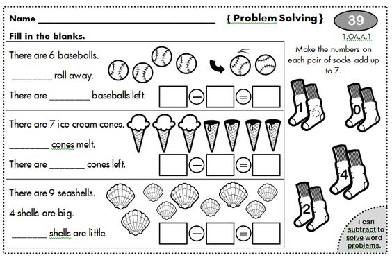 Word problems, 1st grades and First grade worksheets on