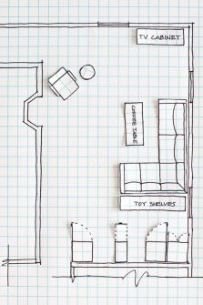 Room Layout Drawing on Graph Paper to Rearrange a Room