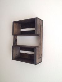 Small Wooden Crate Hanging Shelf Wall Fixture- Shelves for ...