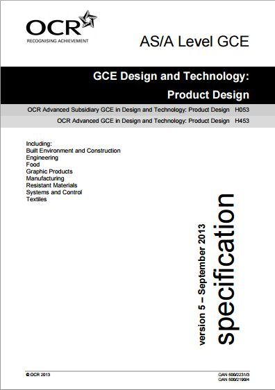 OCR DT Product Design AS (H053) / A-Level (H453
