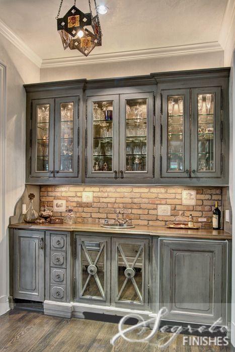 Grey washed cabinets  exposed brick back splash  HOLY