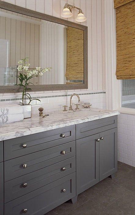 Full overlay, paint grade, Shaker style bathroom vanity