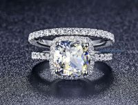 3.55Cts Cushion Cut Halo With Eternity Band Lab Created ...