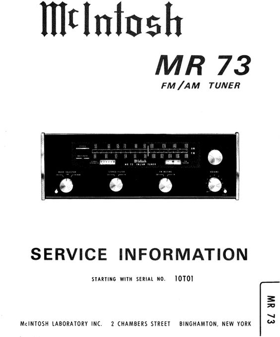 McIntosh MR-73 tuner , Original Service Manual PDF format