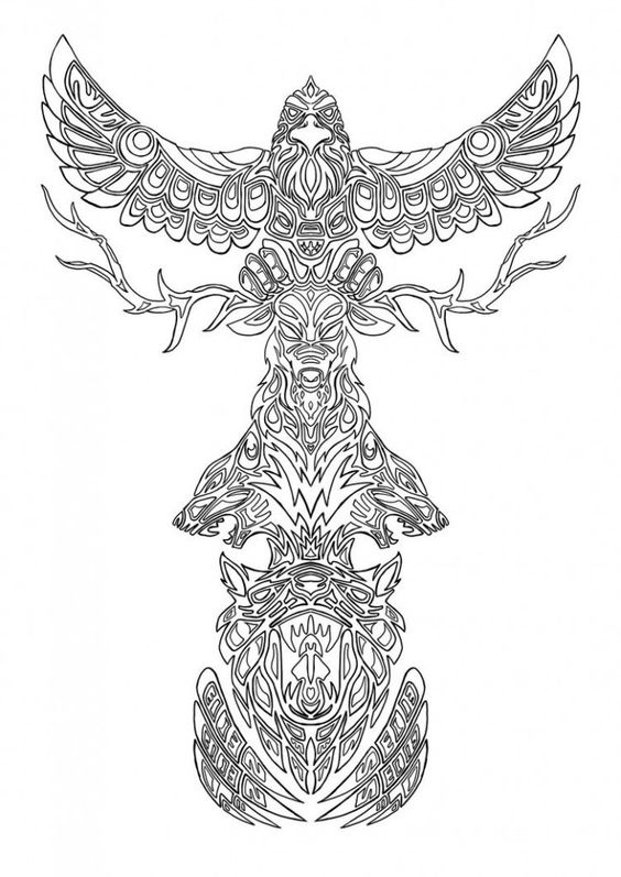 TOTEM POLE colouring pages FREE download from BEST