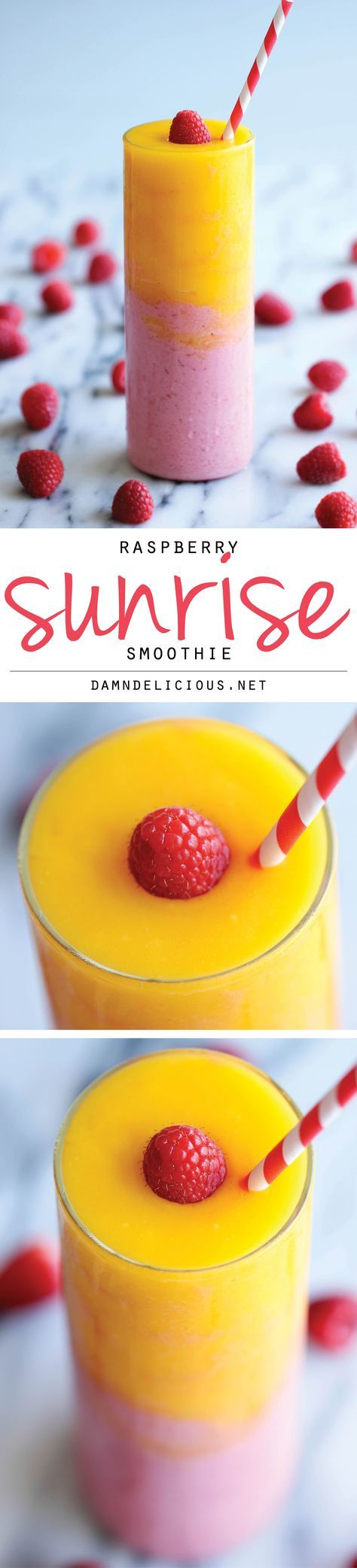 Raspberry Sunrise Smoothie Recipe via Damn Delicious - 4-ingredient raspberry mango smoothie - so easy and amazingly refreshing!