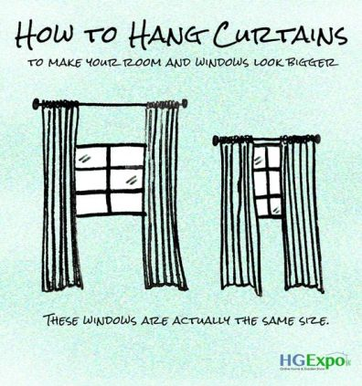 how to hang curtain rod above window | How to hang curtains infographic: