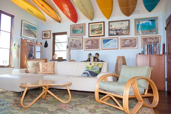 """The Shoemakers' family room and its """"surfboard ceiling."""""""