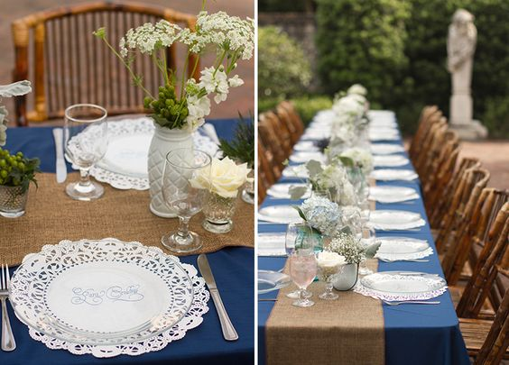 Runners Burlap Runners And Blue Tables On Pinterest