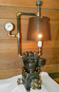 Steampunk table lamp, made with parts from an old air ...