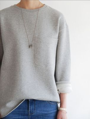 classic casual | jeans and grey sweatshirt: