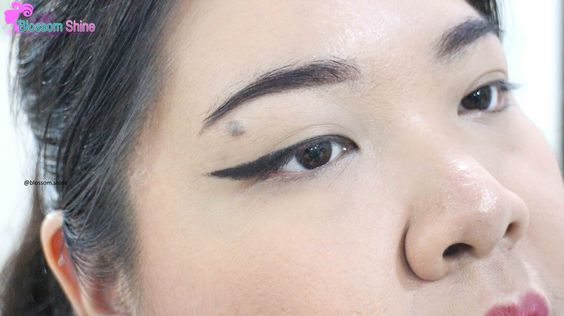 winged eye, created with automatic eyeliner