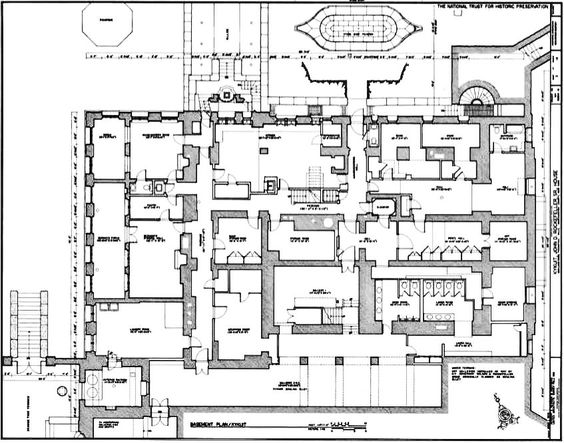 Kykuit, Cellar Floor Plan, known also as the John D